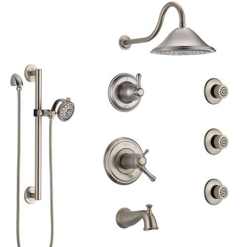 Delta Cassidy Stainless Steel Finish Dual Thermostatic Control Tub and Shower System with Showerhead, 3 Body Jets, Grab Bar Hand Spray SS17T4971SS4