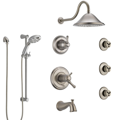 Delta Cassidy Stainless Steel Finish Thermostatic Control Tub and Shower System, Diverter, Showerhead, 3 Body Sprays, & Temp2O Hand Spray SS17T4971SS5