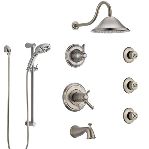 Delta Cassidy Stainless Steel Finish Thermostatic Control Tub and Shower System, Diverter, Showerhead, 3 Body Sprays, & Temp2O Hand Spray SS17T4971SS6