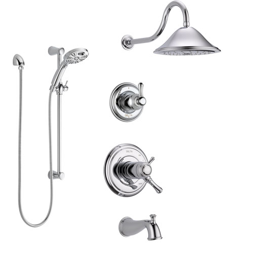 Delta Cassidy Chrome Finish Tub and Shower System with Dual Thermostatic Control Handle, Diverter, Showerhead, and Temp2O Hand Shower SS17T49724