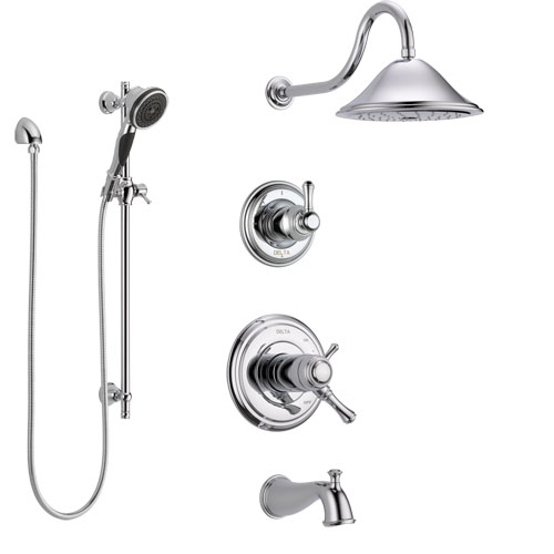 Delta Cassidy Chrome Finish Tub and Shower System with Dual Thermostatic Control Handle, Diverter, Showerhead, and Hand Shower SS17T49725