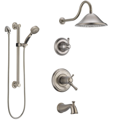 Delta Cassidy Stainless Steel Finish Dual Thermostatic Control Tub and Shower System, Diverter, Showerhead, and Hand Shower with Grab Bar SS17T4972SS3
