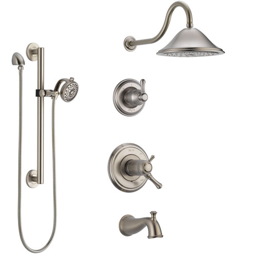 Delta Cassidy Stainless Steel Finish Dual Thermostatic Control Tub and Shower System, Diverter, Showerhead, and Hand Shower with Grab Bar SS17T4972SS6