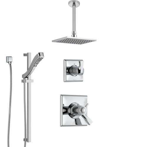 Delta Dryden Chrome Finish Shower System with Dual Thermostatic Control Handle, Diverter, Ceiling Mount Showerhead, and Hand Shower SS17T5115