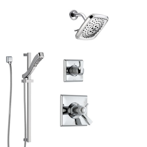 Delta Dryden Chrome Finish Shower System with Dual Thermostatic Control Handle, Diverter, Showerhead, and Hand Shower with Slidebar SS17T5116