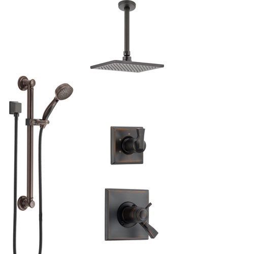 Delta Dryden Venetian Bronze Shower System with Dual Thermostatic Control, Diverter, Ceiling Mount Showerhead, and Grab Bar Hand Shower SS17T511RB1