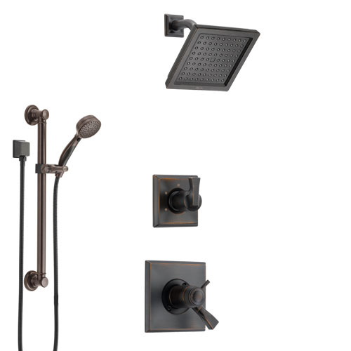 Delta Dryden Venetian Bronze Shower System with Dual Thermostatic Control Handle, Diverter, Showerhead, and Hand Shower with Grab Bar SS17T511RB2