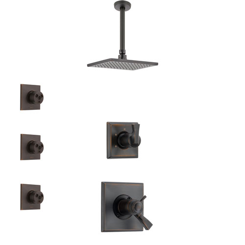 Delta Dryden Venetian Bronze Shower System with Dual Thermostatic Control Handle, Diverter, Ceiling Mount Showerhead, and 3 Body Sprays SS17T511RB4