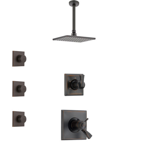 Delta Dryden Venetian Bronze Shower System with Dual Thermostatic Control Handle, Diverter, Ceiling Mount Showerhead, and 3 Body Sprays SS17T511RB5
