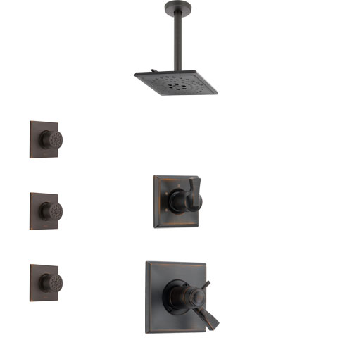 Delta Dryden Venetian Bronze Shower System with Dual Thermostatic Control Handle, Diverter, Ceiling Mount Showerhead, and 3 Body Sprays SS17T511RB6