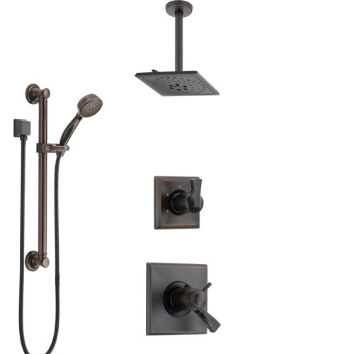 Delta Dryden Venetian Bronze Shower System with Dual Thermostatic Control, Diverter, Ceiling Mount Showerhead, and Grab Bar Hand Shower SS17T511RB7