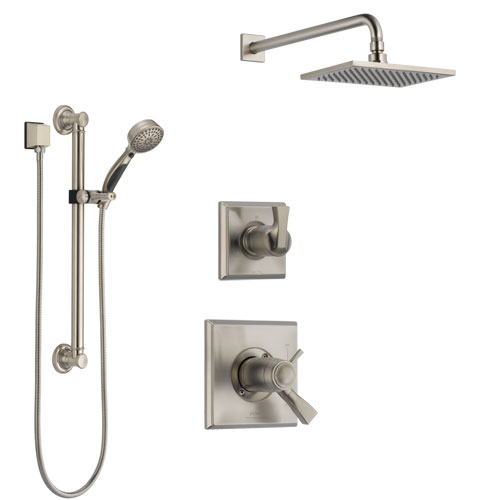 Delta Dryden Dual Thermostatic Control Handle Stainless Steel Finish Shower System, Diverter, Showerhead, and Hand Shower with Grab Bar SS17T511SS1