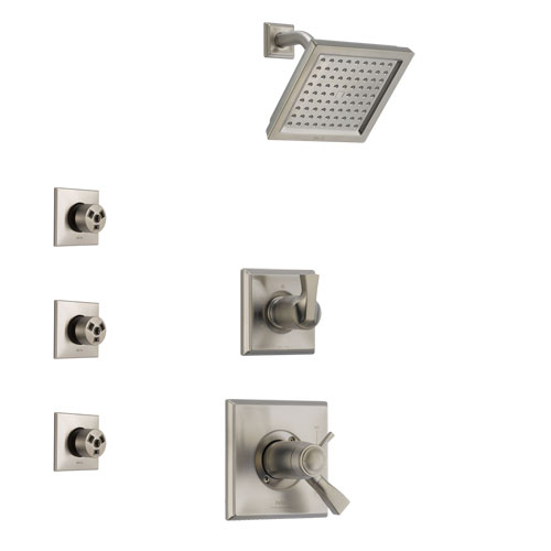 Delta Dryden Stainless Steel Finish Shower System with Dual Thermostatic Control Handle, 3-Setting Diverter, Showerhead, and 3 Body Sprays SS17T511SS6