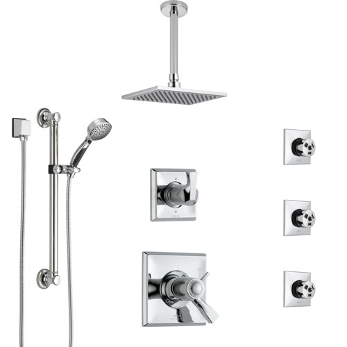 Delta Dryden Chrome Shower System with Dual Thermostatic Control, Diverter, Ceiling Showerhead, 3 Body Sprays, and Grab Bar Hand Shower SS17T5122