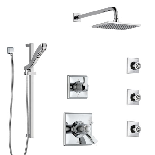 Delta Dryden Chrome Shower System with Dual Thermostatic Control Handle, 6-Setting Diverter, Showerhead, 3 Body Sprays, and Hand Shower SS17T5126