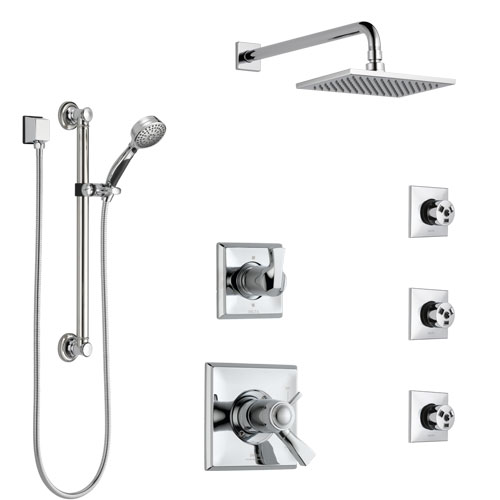 Delta Dryden Chrome Shower System with Dual Thermostatic Control, Diverter, Showerhead, 3 Body Sprays, and Hand Shower with Grab Bar SS17T5128