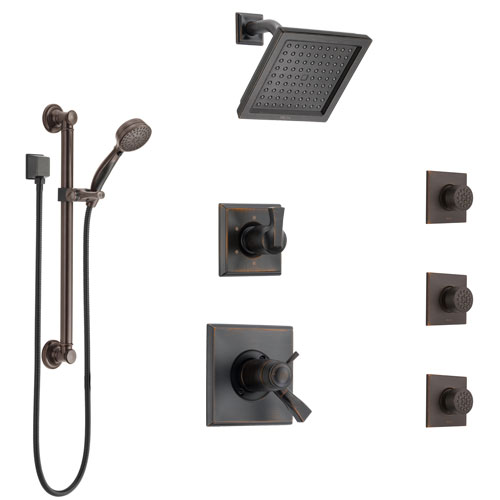 Delta Dryden Venetian Bronze Shower System with Dual Thermostatic Control, Diverter, Showerhead, 3 Body Sprays, and Grab Bar Hand Shower SS17T512RB2