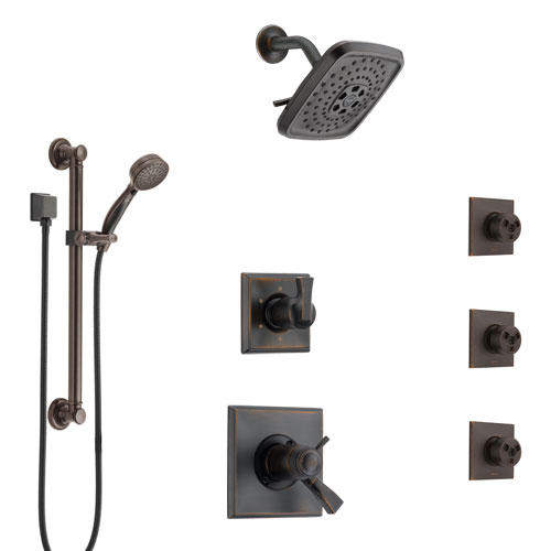 Delta Dryden Venetian Bronze Shower System with Dual Thermostatic Control, Diverter, Showerhead, 3 Body Sprays, and Grab Bar Hand Shower SS17T512RB7