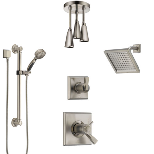 Delta Dryden Dual Thermostatic Control Stainless Steel Finish Shower System, Diverter, Showerhead, Ceiling Showerhead, Grab Bar Hand Spray SS17T512SS2