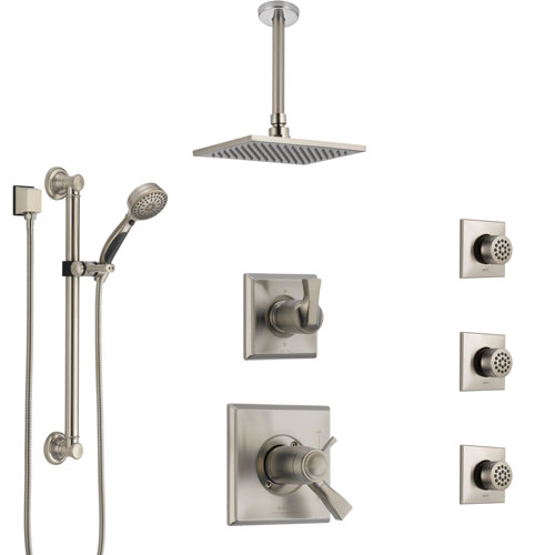Delta Dryden Dual Thermostatic Control Stainless Steel Finish Shower System with Ceiling Showerhead, 3 Body Jets, Grab Bar Hand Spray SS17T512SS4