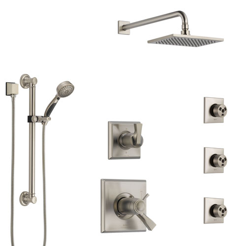 Delta Dryden Dual Thermostatic Control Stainless Steel Finish Shower System, Diverter, Showerhead, 3 Body Sprays, and Grab Bar Hand Shower SS17T512SS6