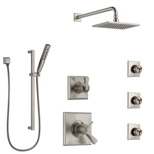 Delta Dryden Dual Thermostatic Control Stainless Steel Finish Shower System, Diverter, Showerhead, 3 Body Sprays, and Hand Shower SS17T512SS7