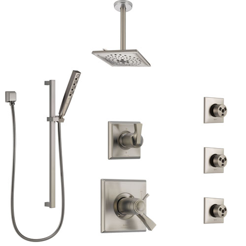Delta Dryden Dual Thermostatic Control Stainless Steel Finish Shower System, Diverter, Ceiling Showerhead, 3 Body Sprays, and Hand Shower SS17T512SS8