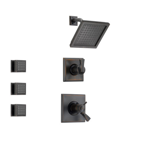 Delta Dryden Venetian Bronze Shower System with Thermostatic Shower Handle, 3-setting Diverter, Modern Square Showerhead and 3 Body Sprays SS17T5181RB