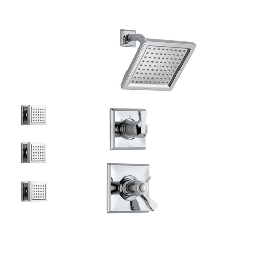 Delta Dryden Chrome Shower System with Thermostatic Shower Handle, 3-setting Diverter, Modern Square Showerhead, and 3 Body Sprays SS17T5181
