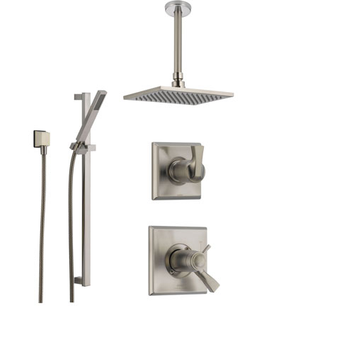 delta dryden stainless steel shower system with shower handle 3setting diverter large square ceiling mount rain showerhead and handheld