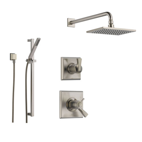 delta dryden stainless steel shower system with shower handle 3setting diverter large square rain showerhead and handheld shower