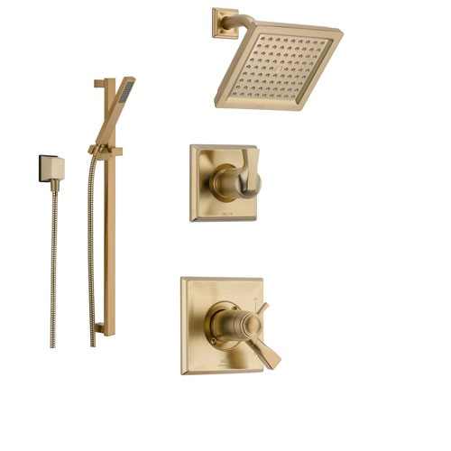 Delta Dryden Champagne Bronze Shower System with Thermostatic Shower Handle, 3-setting Diverter, Modern Square Showerhead, and Hand Shower Spray SS17T5185CZ
