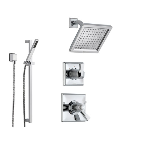 Delta dryden chrome shower system with thermostatic shower handle 3 s for Delta bathroom shower systems
