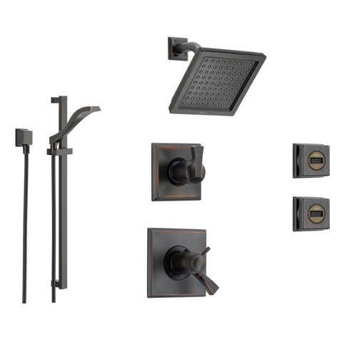 delta dryden venetian bronze shower system with shower handle 6setting diverter modern square showerhead and 3 body sprays ss17t5191rb