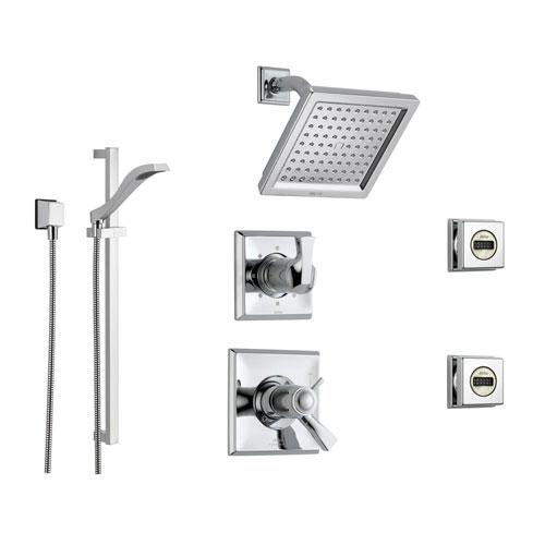 delta dryden chrome shower system with shower handle 6setting diverter modern square showerhead handheld shower and 2 body sprays