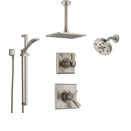 Delta Dryden Stainless Steel Shower System with Thermostatic Shower Handle, 6-setting Diverter, Large Square Ceiling Mount Showerhead, Handheld Shower, and Wall Mount Showerhead SS17T5193SS