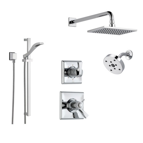 Delta Dryden Chrome Shower System with Thermostatic Shower Handle, 6-setting Diverter, Large Square Rain Shower Head, Modern Round Showerhead, and Hand Shower Spray SS17T5193