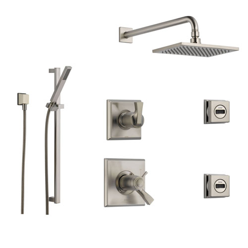 Delta Dryden Stainless Steel Shower System with Thermostatic Shower Handle, 6-setting Diverter, Modern Square Rain Showerhead, Hand Held Shower, and 2 Body Sprays SS17T5194SS