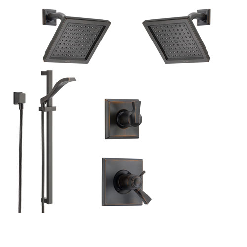 Delta Dryden Venetian Bronze Shower System with Thermostatic Shower Handle, 6-setting Diverter, Modern Square Showerhead, and Hand Shower Spray SS17T5195RB
