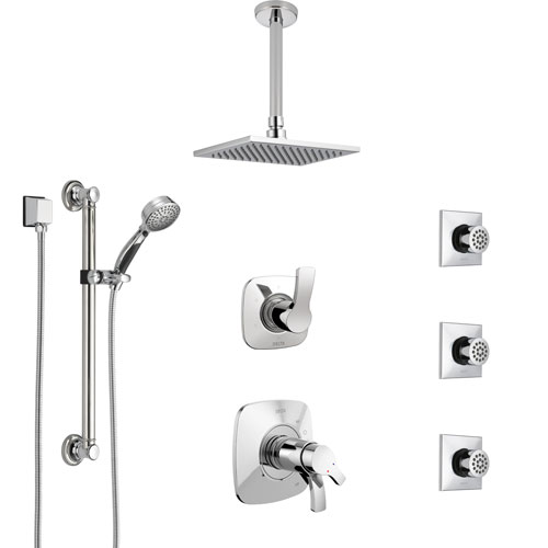Delta Tesla Chrome Shower System with Dual Thermostatic Control, Diverter, Ceiling Mount Showerhead, 3 Body Sprays, and Grab Bar Hand Shower SS17T5211