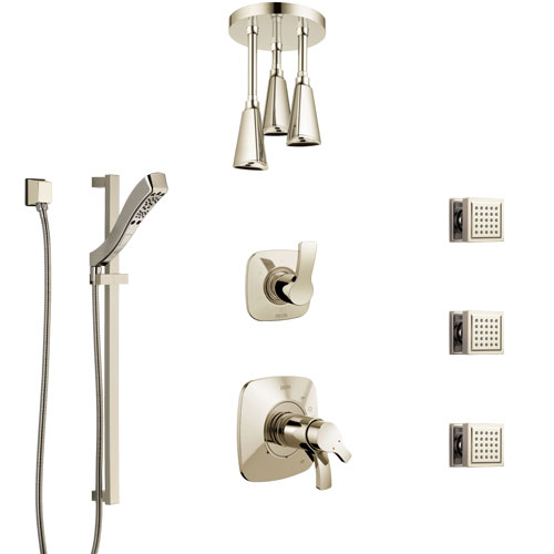 Delta Tesla Polished Nickel Shower System with Dual Thermostatic Control, Diverter, Ceiling Showerhead, 3 Body Sprays, and Hand Shower SS17T521PN1