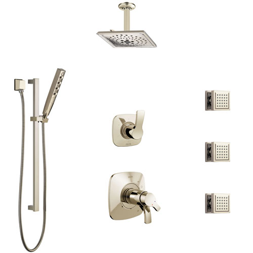 Delta Tesla Polished Nickel Shower System with Dual Thermostatic Control, Diverter, Ceiling Showerhead, 3 Body Sprays, and Hand Shower SS17T521PN3