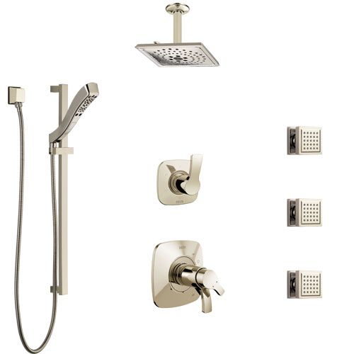 Delta Tesla Polished Nickel Shower System with Dual Thermostatic Control, Diverter, Ceiling Showerhead, 3 Body Sprays, and Hand Shower SS17T521PN4