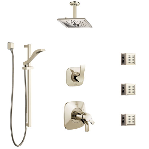 Delta Tesla Polished Nickel Shower System with Dual Thermostatic Control, Diverter, Ceiling Showerhead, 3 Body Sprays, and Hand Shower SS17T521PN5