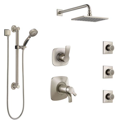 Delta Tesla Dual Thermostatic Control Stainless Steel Finish Shower System, Diverter, Showerhead, 3 Body Sprays, and Grab Bar Hand Shower SS17T521SS1