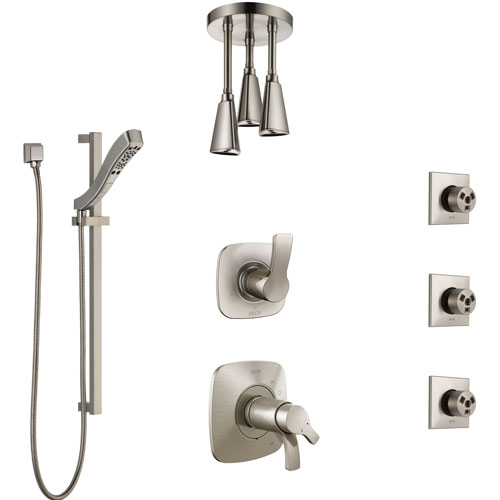 Delta Tesla Dual Thermostatic Control Stainless Steel Finish Shower System, Diverter, Ceiling Showerhead, 3 Body Sprays, and Hand Shower SS17T521SS4