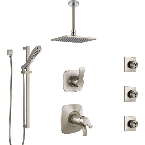 Delta Tesla Dual Thermostatic Control Stainless Steel Finish Shower System, Diverter, Ceiling Showerhead, 3 Body Sprays, and Hand Shower SS17T521SS5