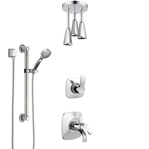Delta Tesla Chrome Shower System with Dual Thermostatic Control Handle, Diverter, Ceiling Mount Showerhead, and Hand Shower with Grab Bar SS17T5225