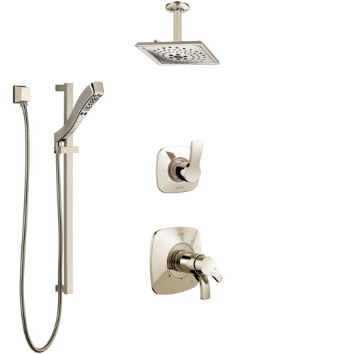 Delta Tesla Polished Nickel Shower System with Dual Thermostatic Control Handle, Diverter, Ceiling Mount Showerhead, and Hand Shower SS17T522PN1