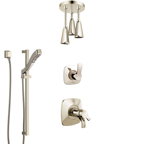 Delta Tesla Polished Nickel Shower System with Dual Thermostatic Control Handle, Diverter, Ceiling Mount Showerhead, and Hand Shower SS17T522PN2
